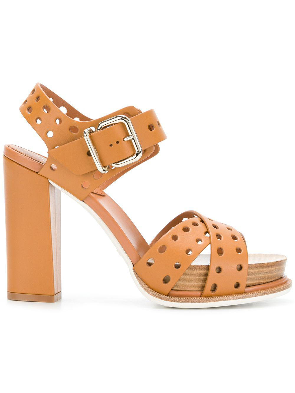 8d4108c79895 Tod s - Brown Perforated Platform Sandals - Lyst. View fullscreen