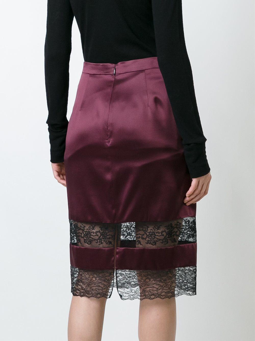 95e0e574da Givenchy - Red Lace Panel Pencil Skirt - Lyst. View fullscreen