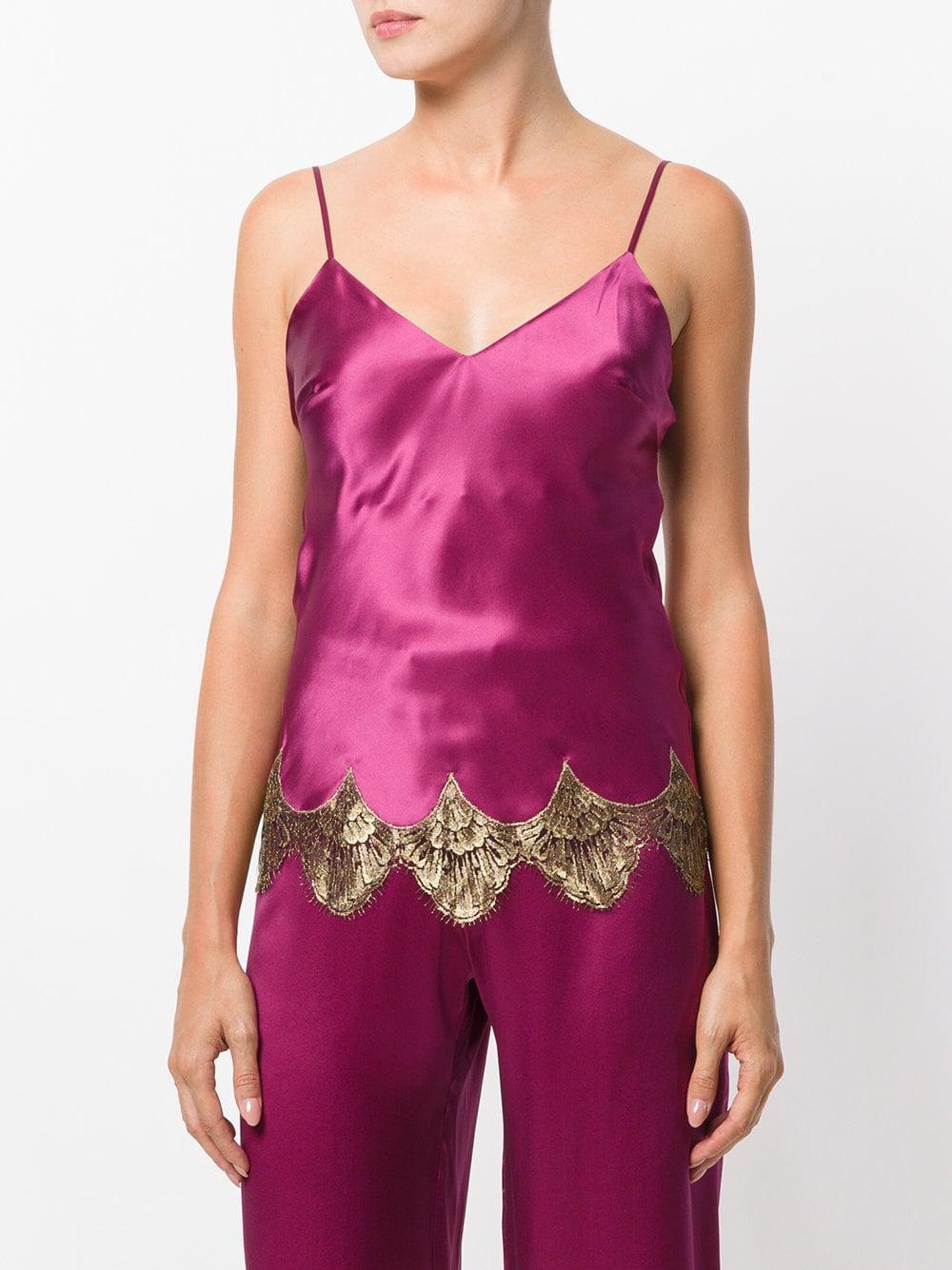 703b42f3c0c Lyst - Gilda   Pearl Lace Trim Camisole in Pink