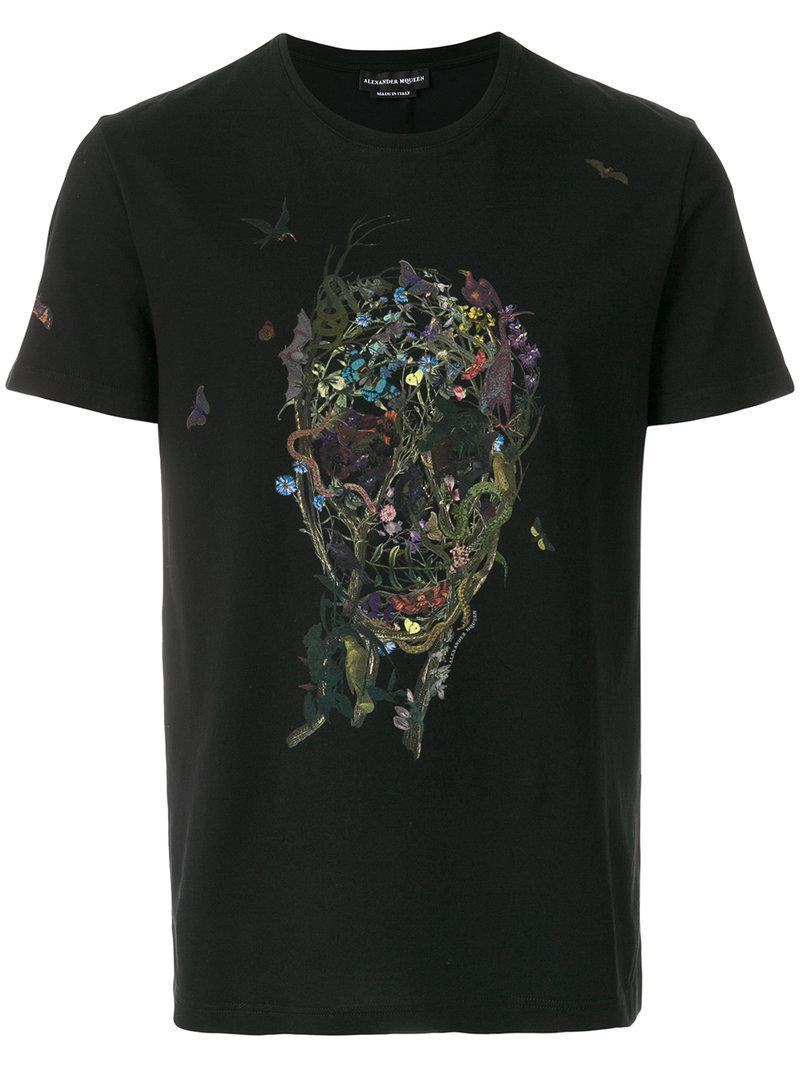 Lyst alexander mcqueen skull print t shirt in black for for Alexander mcqueen shirt men