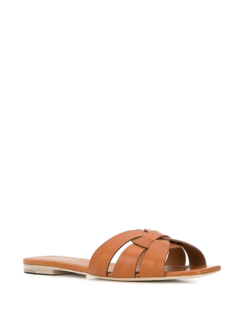 81fdfd8fa7d20a Saint Laurent - Brown Tribute Flat Sandals - Lyst. View fullscreen