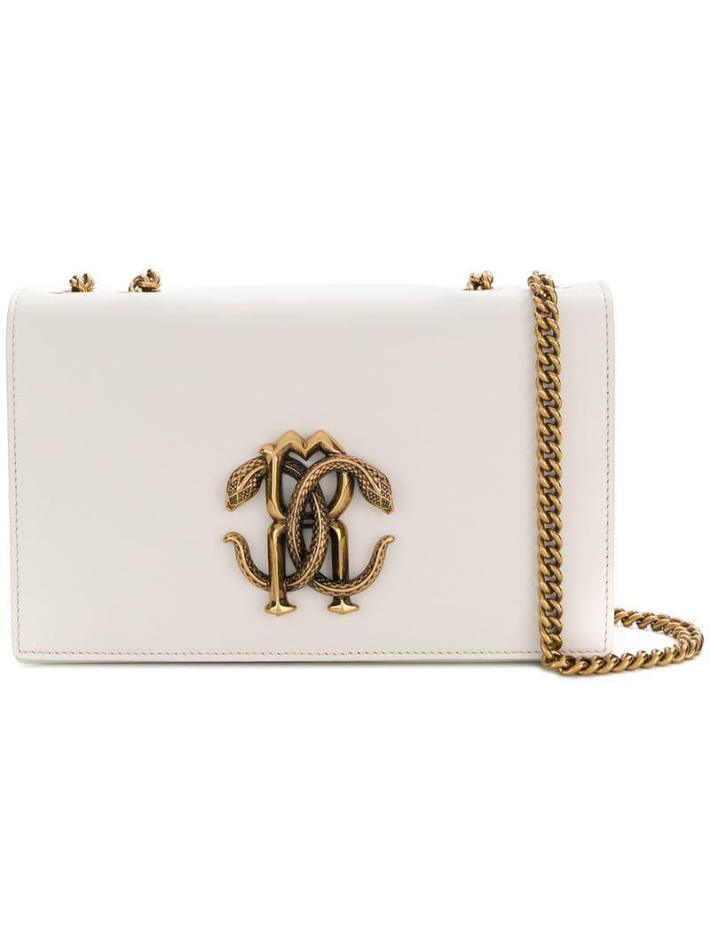 14b0233f326 Roberto Cavalli Snake Buckle Shoulder Bag in White - Lyst