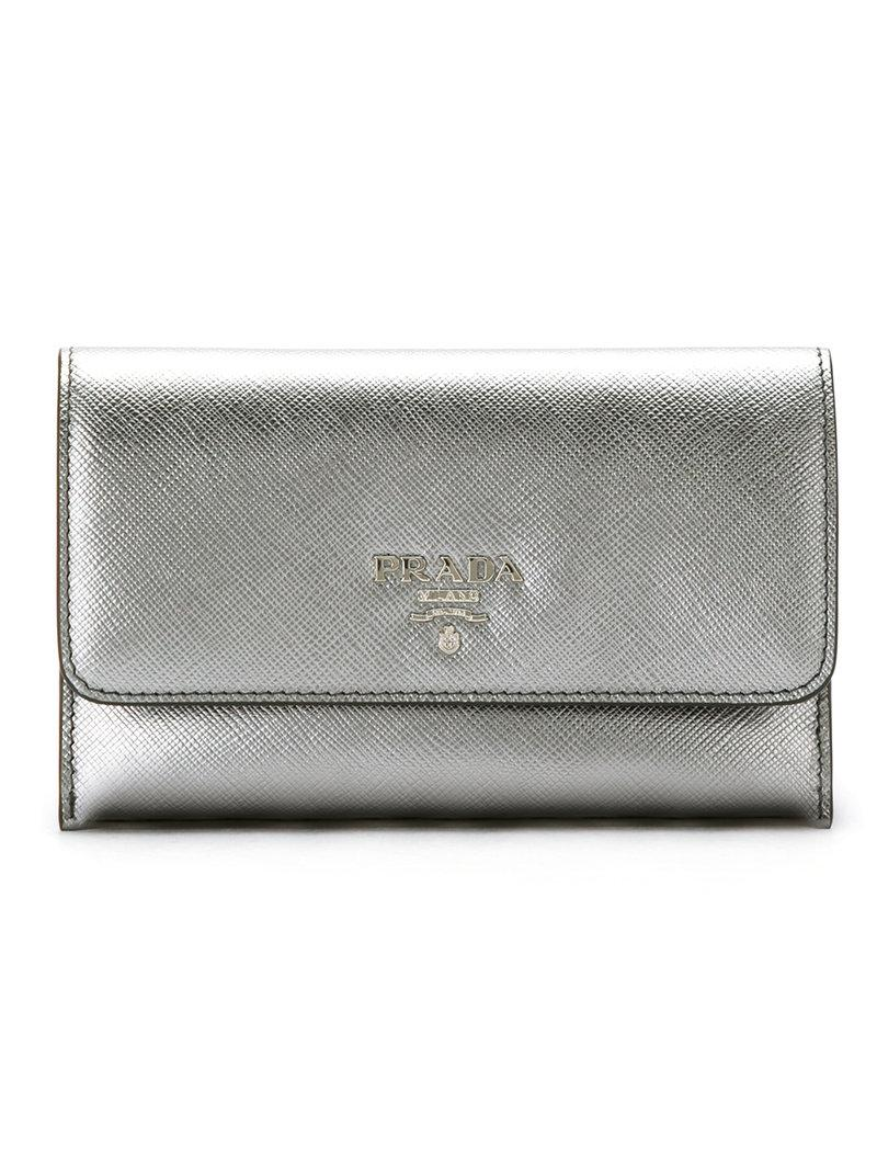 Brand New Unisex For Sale Get To Buy Cheap Online metallic logo wallet Prada Enjoy Online Best Prices Cheap Price l9nLY