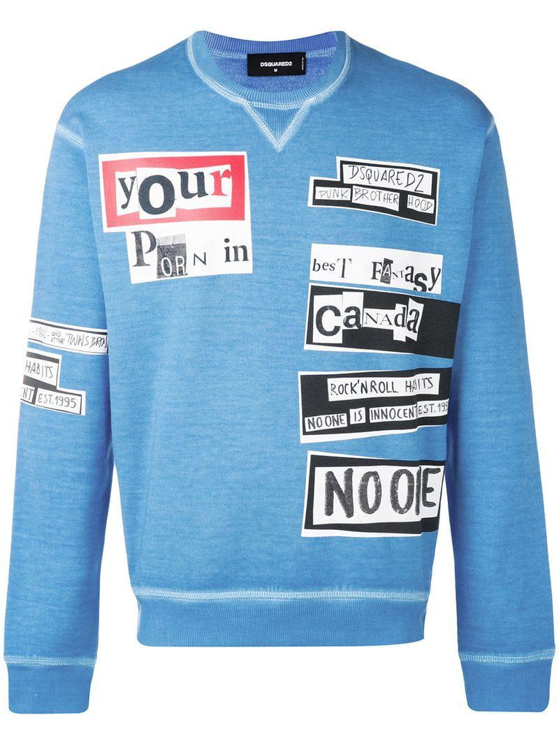 9284b9f82 DSquared² - Blue Faded Print Sweatshirt for Men - Lyst. View fullscreen