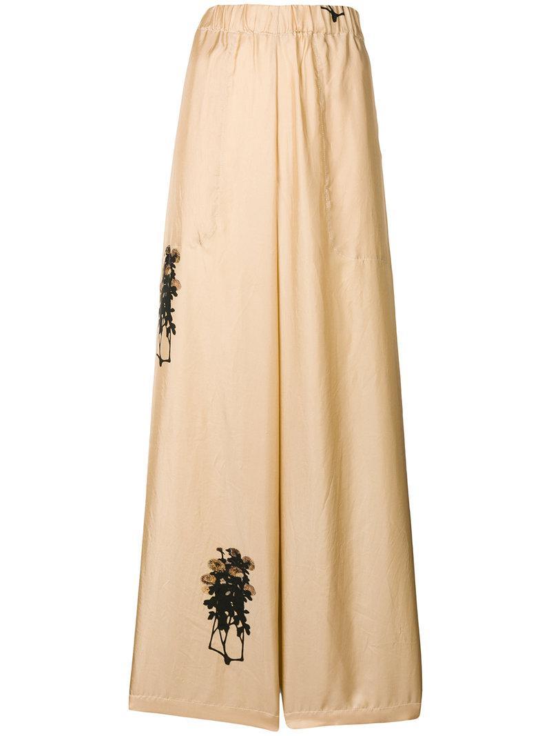 flower embroidered palazzo pants - Nude & Neutrals Uma Wang atrn6sDVl