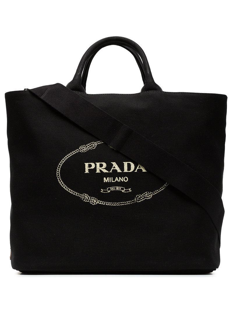 4d1256adf2fc61 Prada - Black Gardener Large Cotton Tote - Lyst. View fullscreen