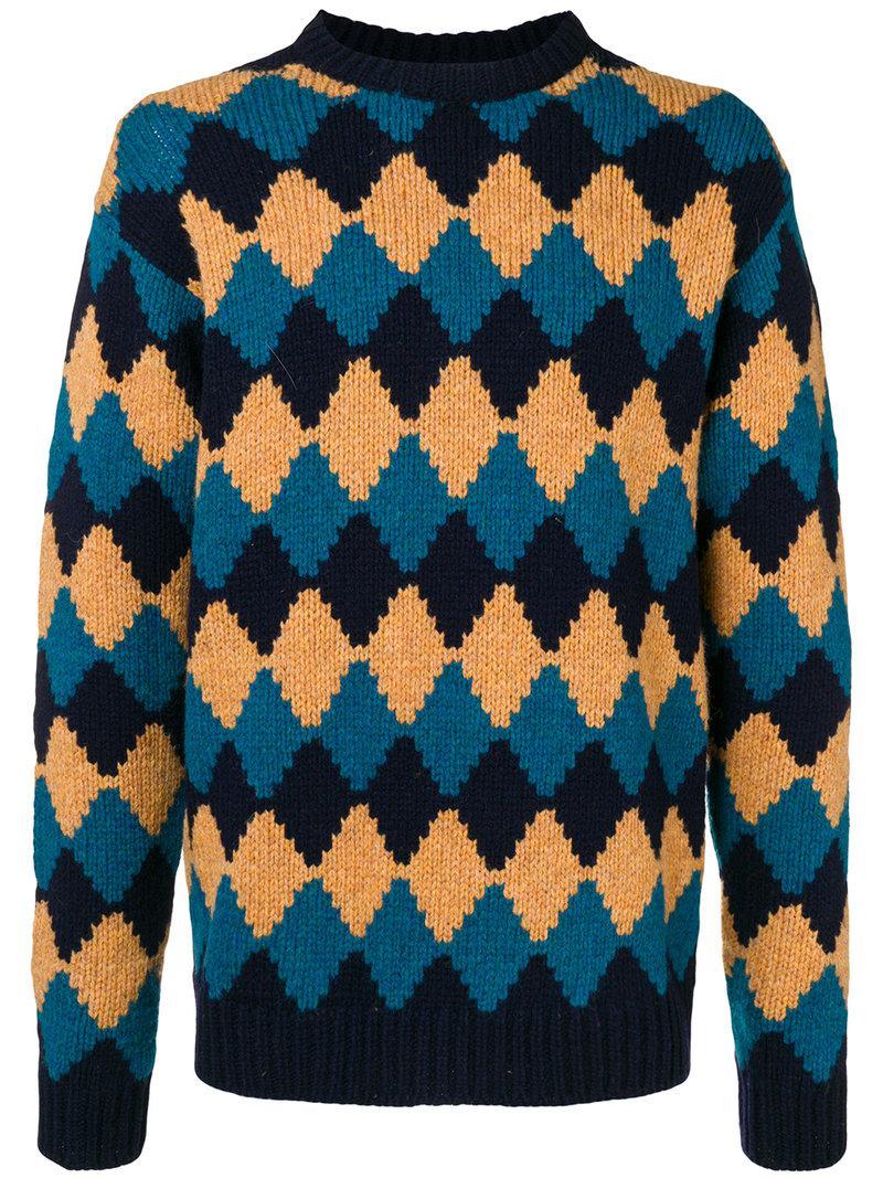 7f98c74b5647 Prada Rhomb-design Loose Sweater in Blue for Men - Lyst