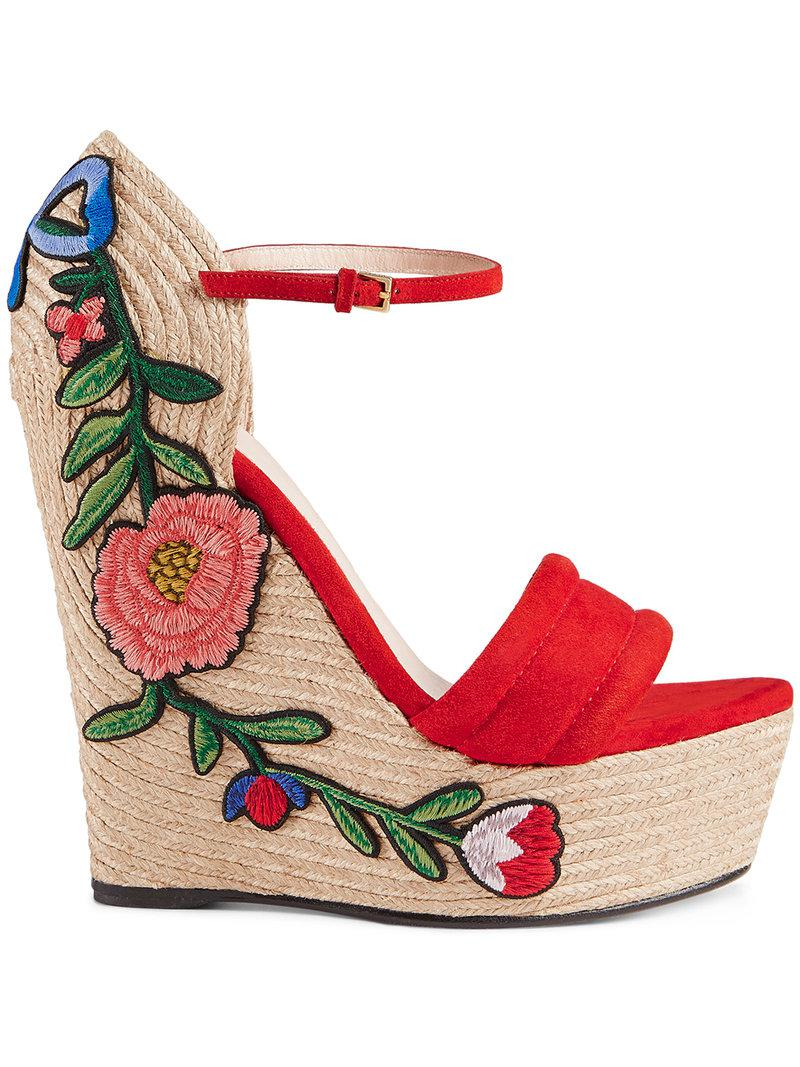 Gucci Embroidered platform espadrille