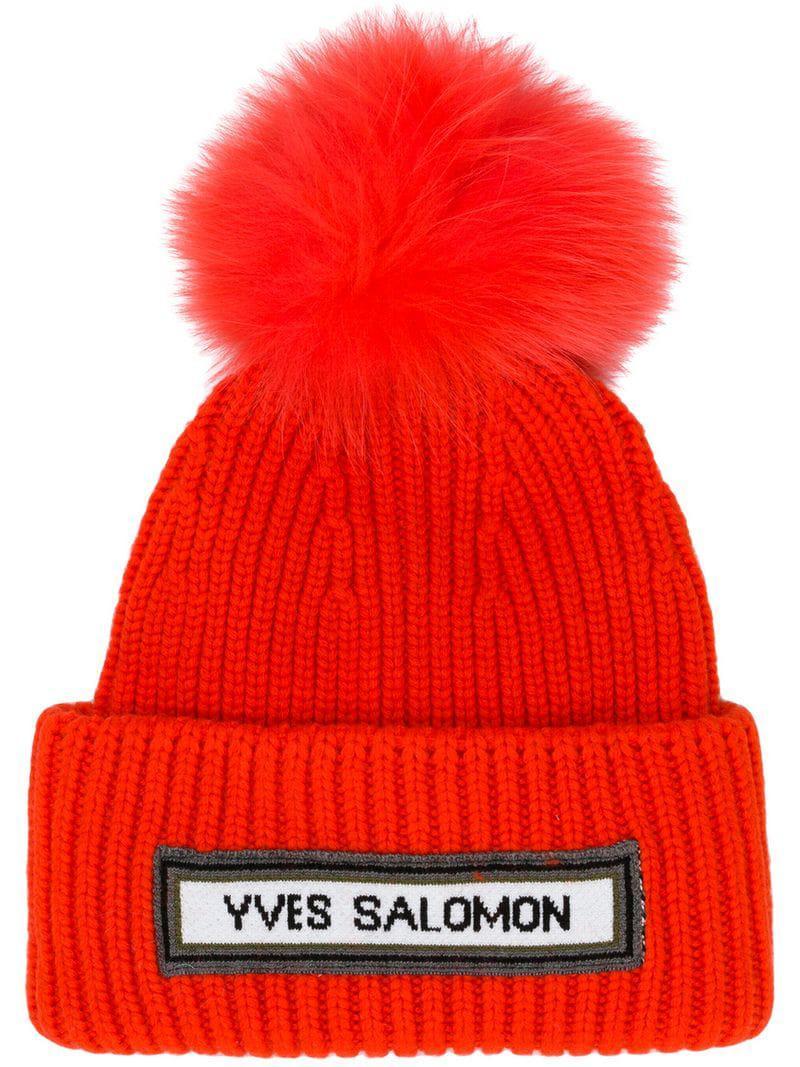 574451ad Yves Salomon Ribbed Pom Pom Beanie in Red - Lyst