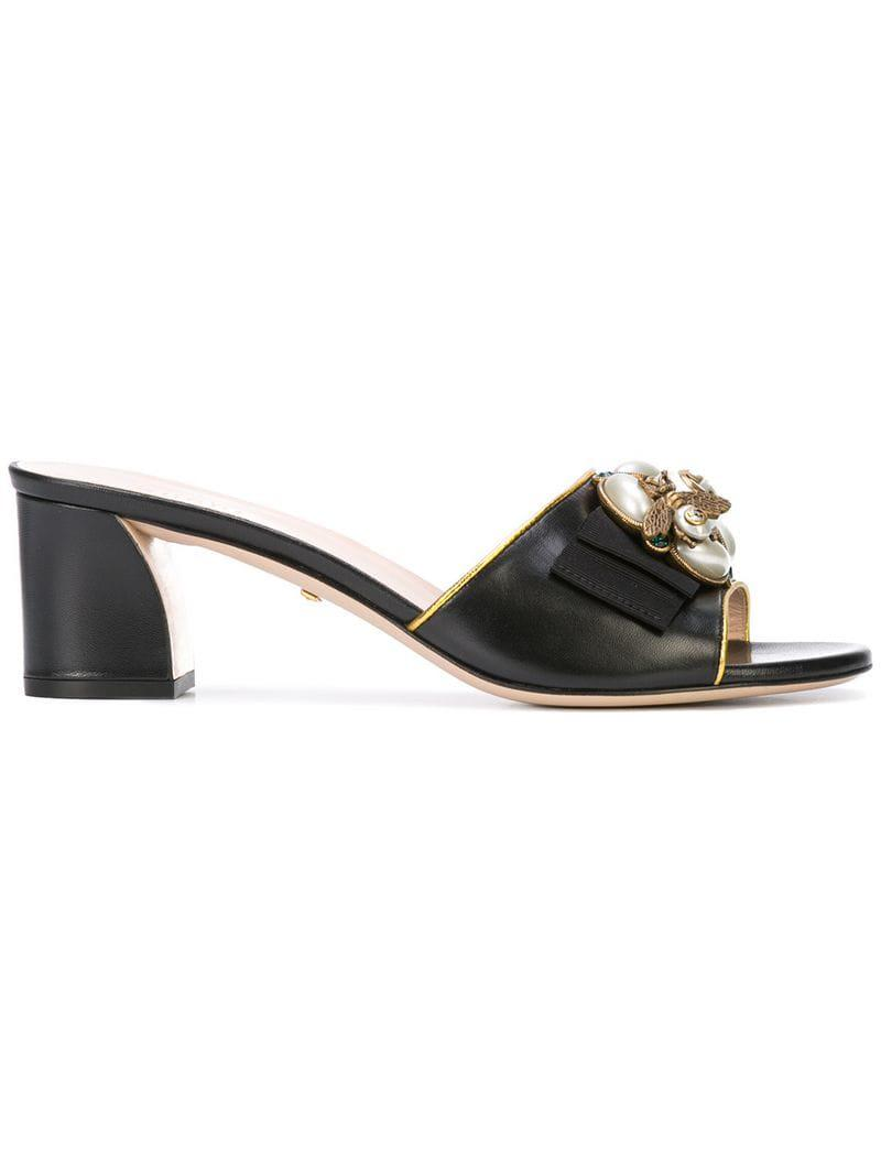 0580ad4f2fff Gucci Bee Embellished Slide Sandals in Black - Lyst