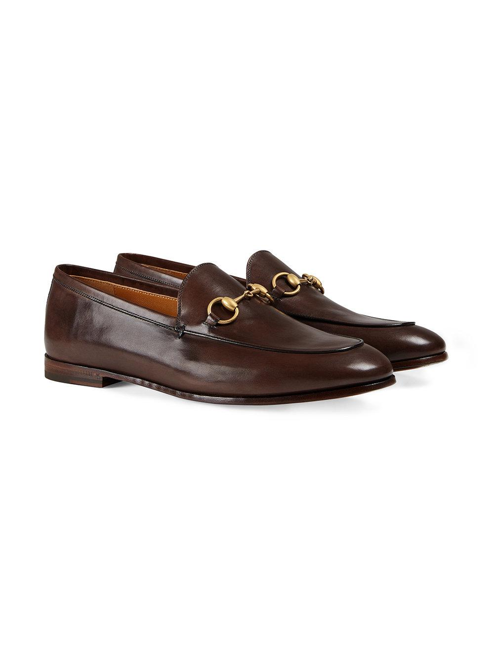 a31138d6b8e Gucci - Brown Jordaan Leather Loafers - Lyst. View fullscreen