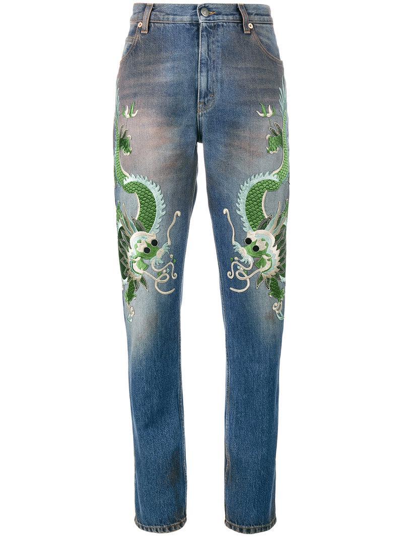 Gucci Jeans Con Draghi Ricamati in Blue - Lyst cdcfda2cc1e1