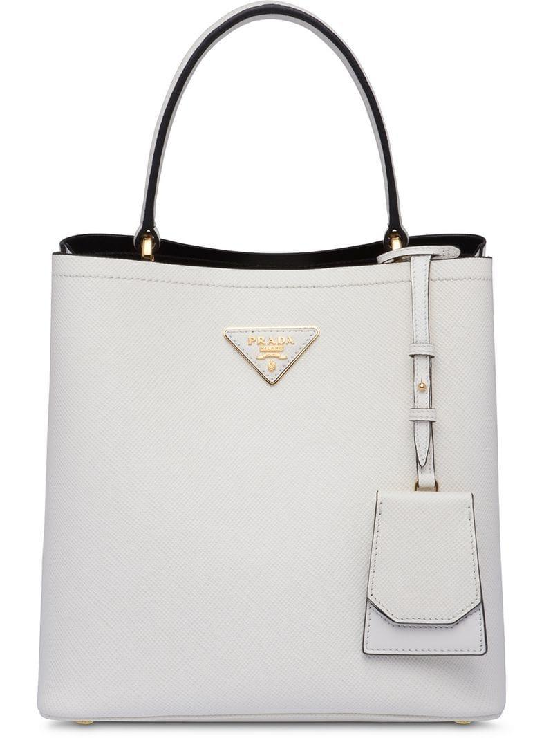 cf8f74afbeda Prada Double Bucket Bag in White - Lyst