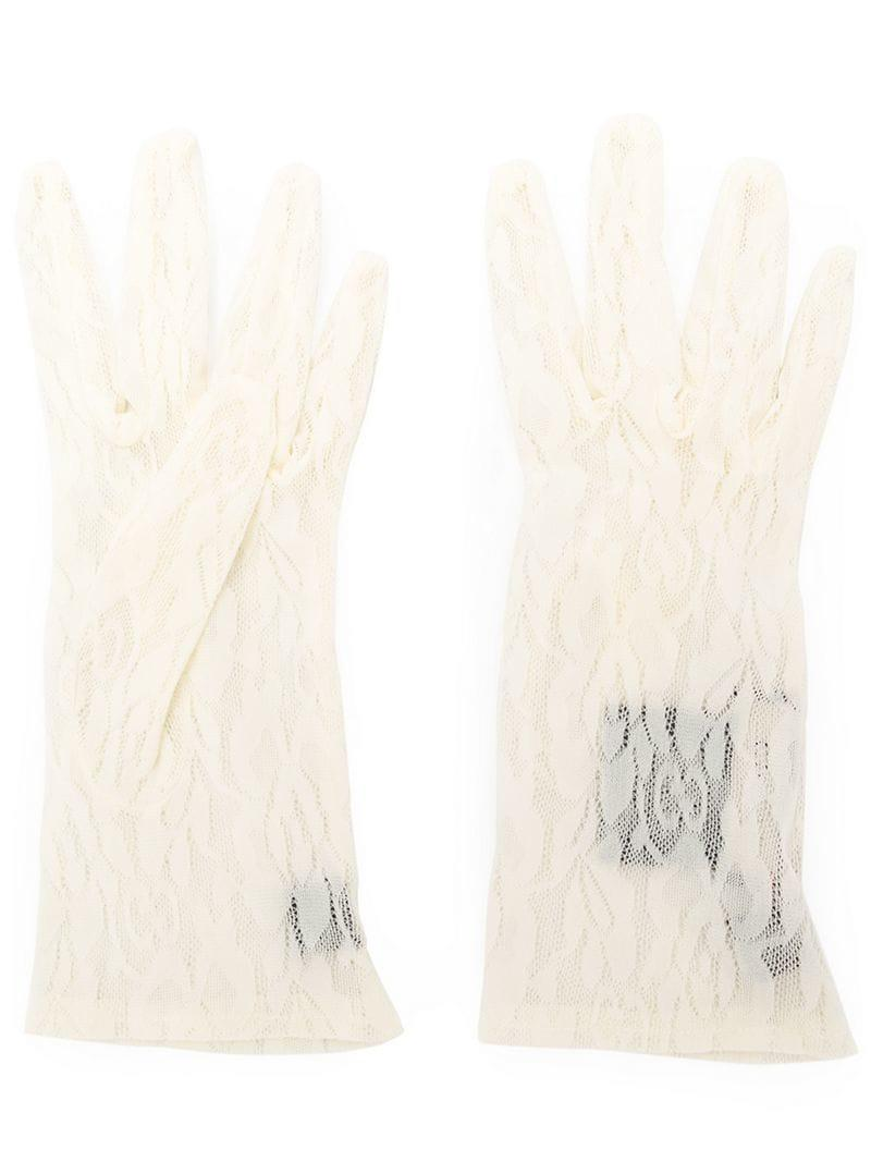 Gucci Floral Lace Gloves in White - Lyst 753eec4e7f5