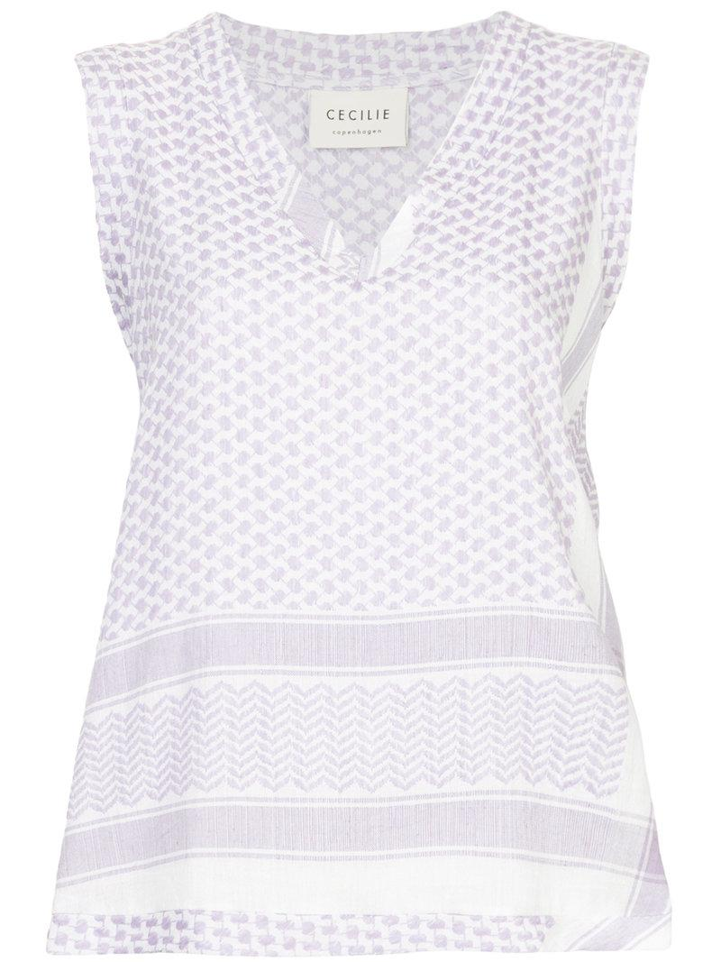 patterned sleeveless top - White Cecilie Copenhagen Cheap Cost Cheap Sale Low Price xGgjsa