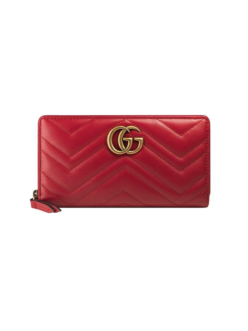 ce44abb6cd2 Gucci GG Marmont Matelassé Wallet in Red - Save 7% - Lyst