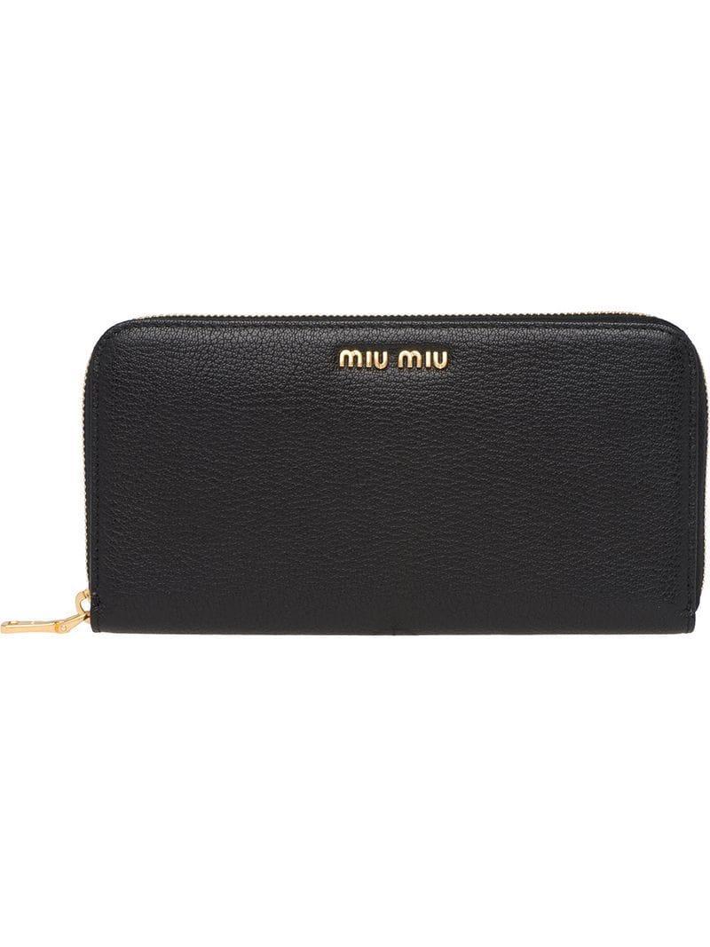 459de4a6c1ea Lyst - Miu Miu Logo Zip Around Wallet in Black