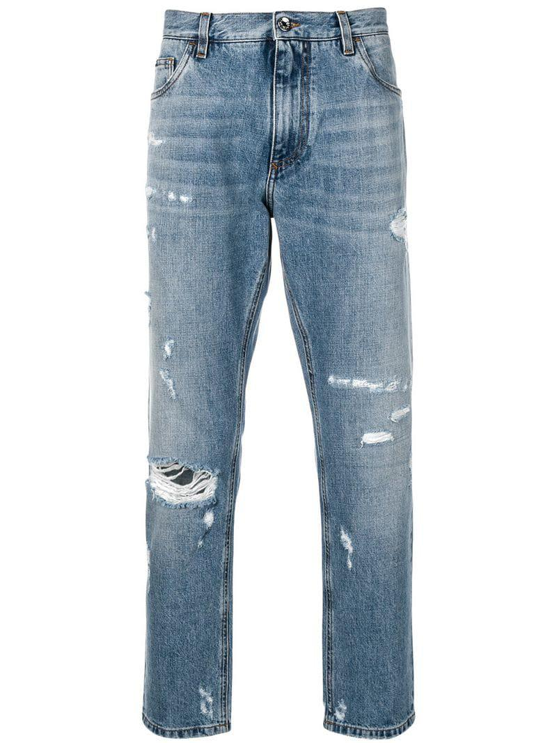 6023fa2766 Lyst - Dolce   Gabbana Distressed Tapered Jeans in Blue for Men