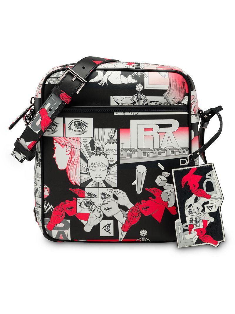 ac0a422bfbf8e9 Lyst - Prada Cartoon Printed Shoulder Bag in Black