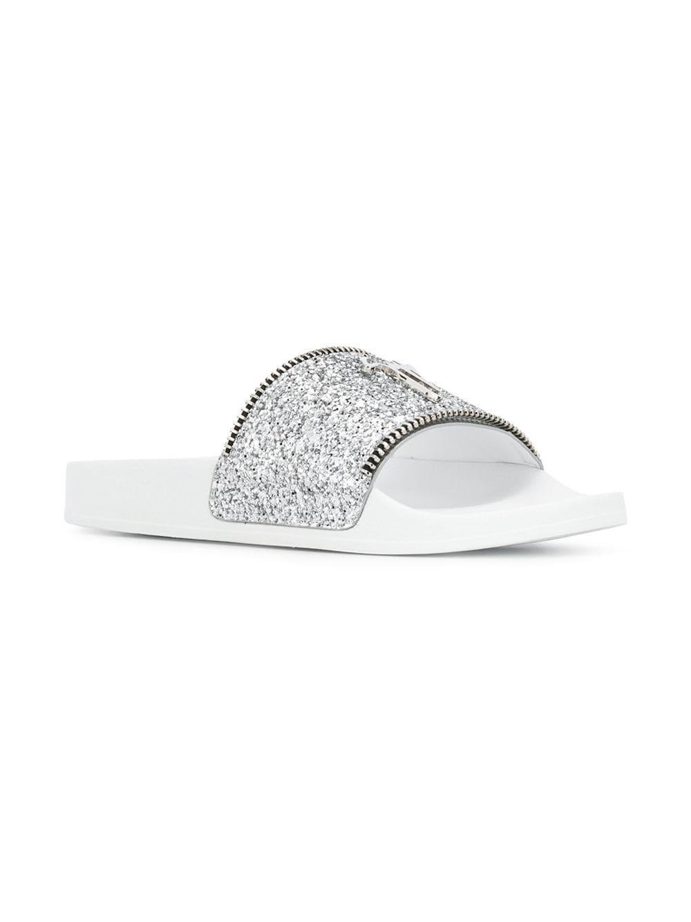 b3a1c19da Lyst - Giuseppe Zanotti Silver Glitter Blytter Slides in Metallic ...