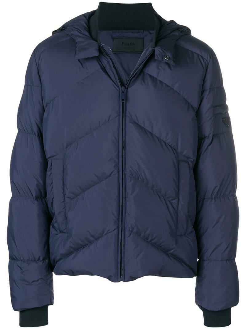 For Lyst Padded Jacket Men In Plaque Prada Logo Blue fYqTHg