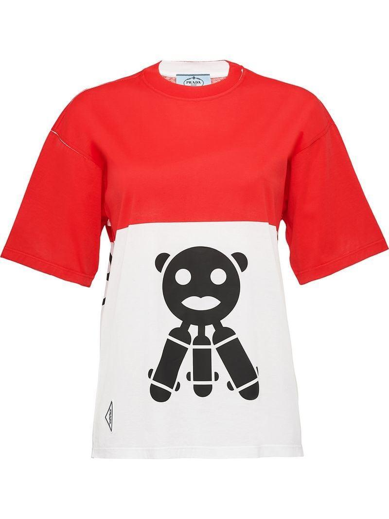 8ba78adb7 Prada Malia Cotton Jersey T-shirt in Red - Lyst