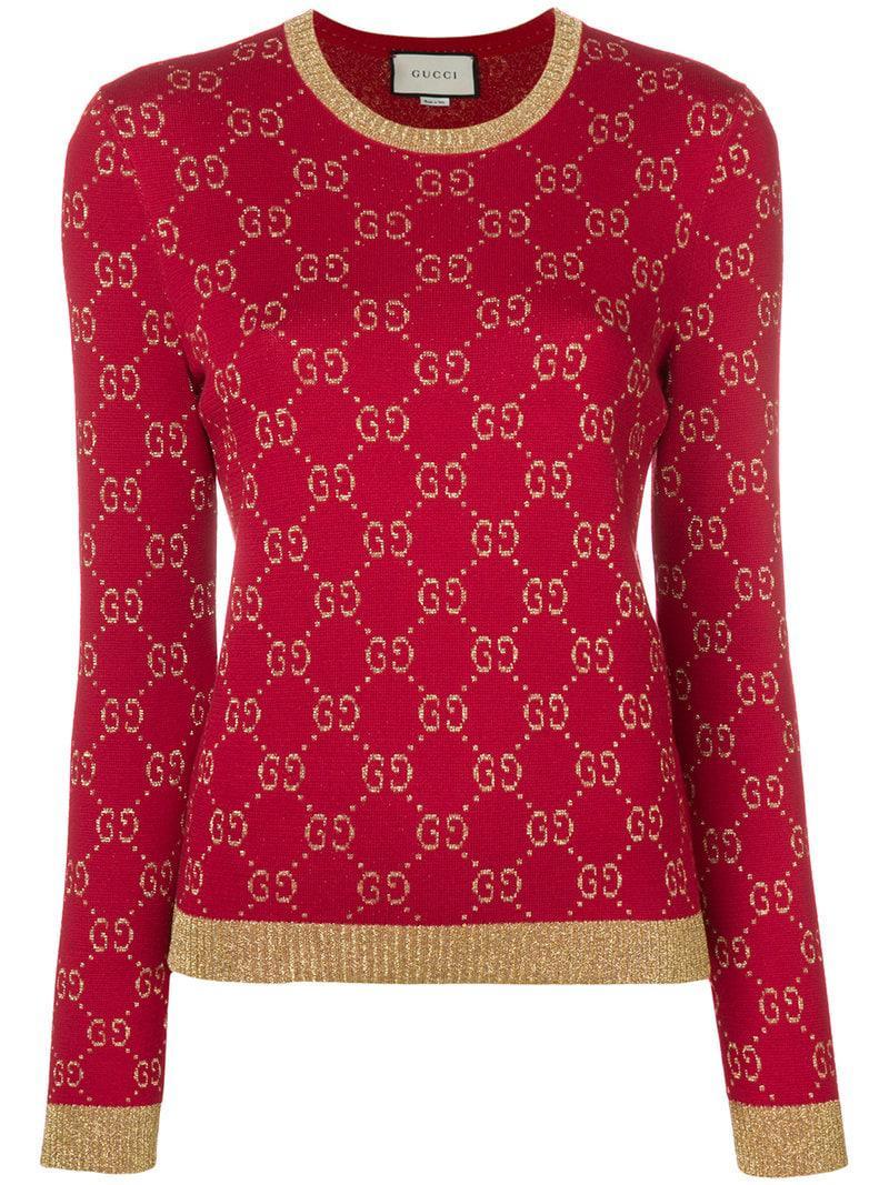 da0d0609a23 Gucci GG Supreme Knit in Red - Lyst