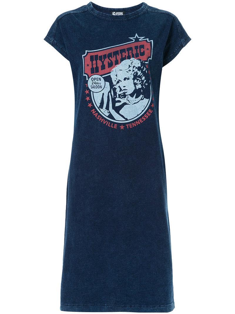 Lyst hysteric glamour logo print t shirt dress in blue for Logo t shirt dress