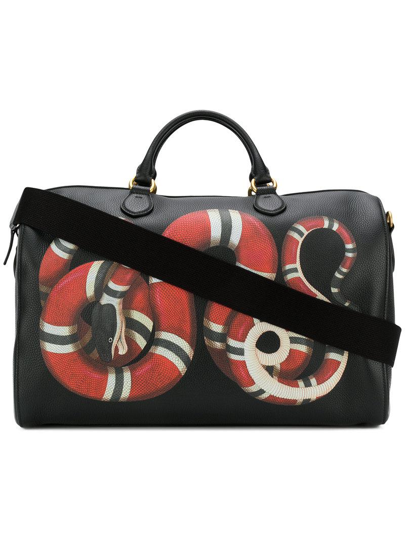 3b1874a0f141 Gucci Kingsnake Print Duffle Bag in Black for Men - Lyst