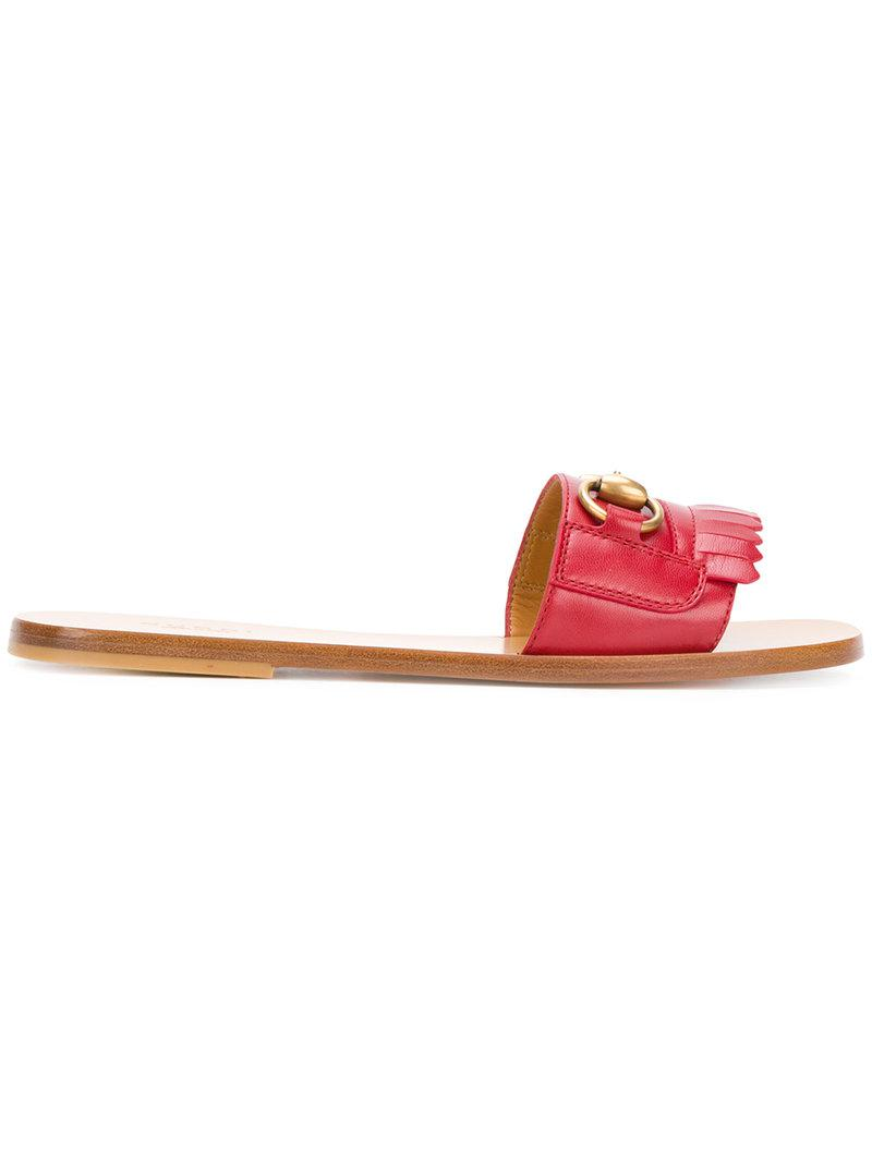 b74179d4b0b Gucci Open Toe Sandals in Red - Lyst