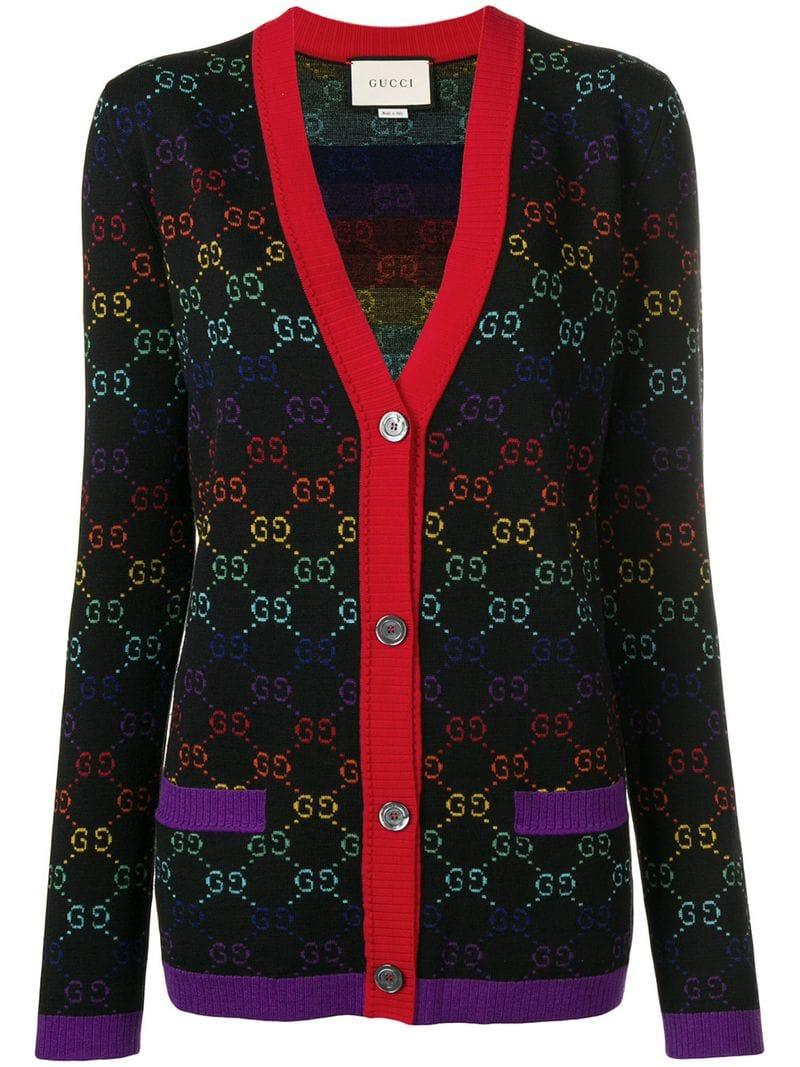 5c29981adb4a57 Gucci Knit Logo Print V-neck Cardigan in Black - Lyst