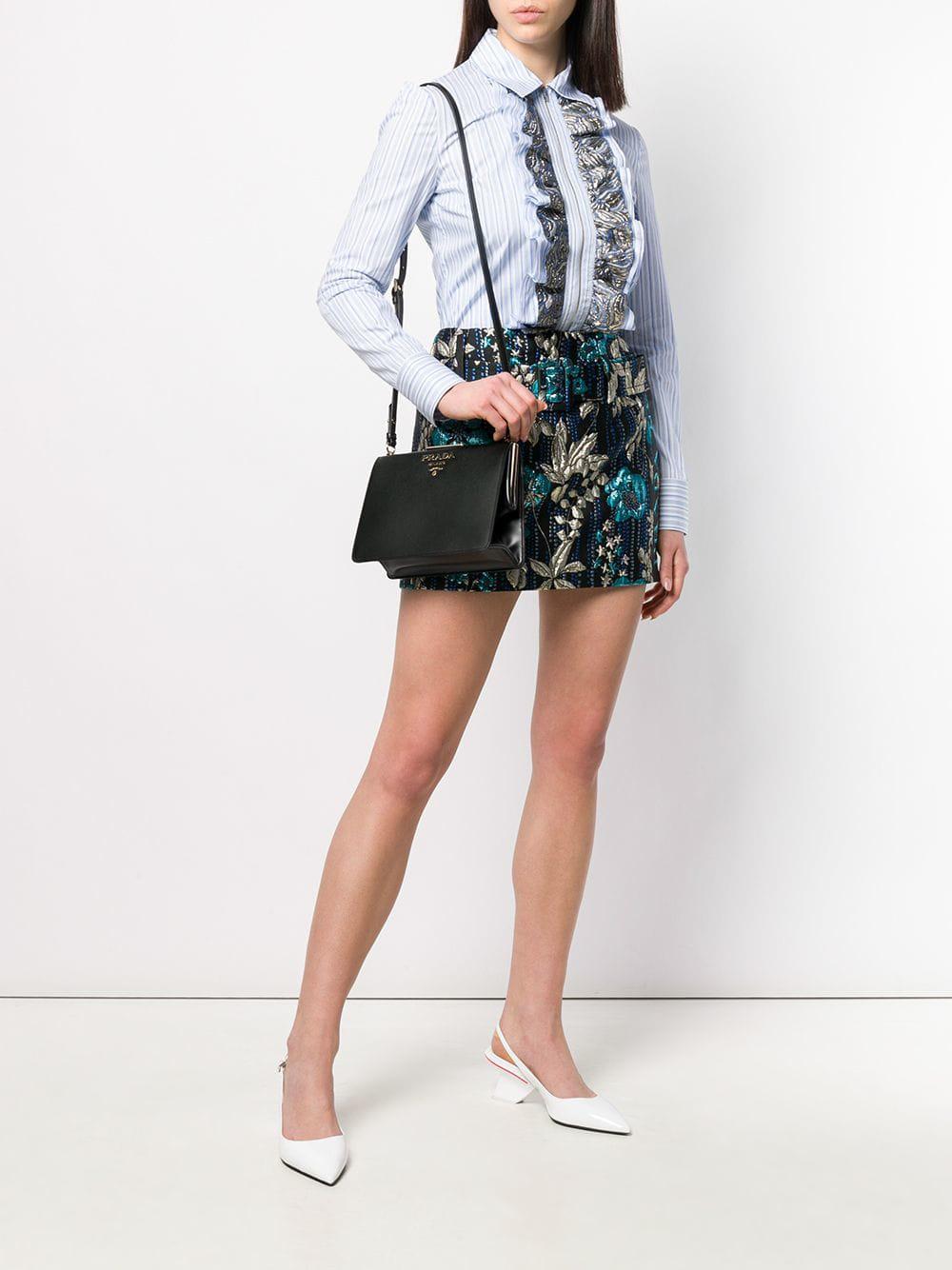 4f12560569dd Lyst - Prada Light Frame Saffiano Leather Bag in Black