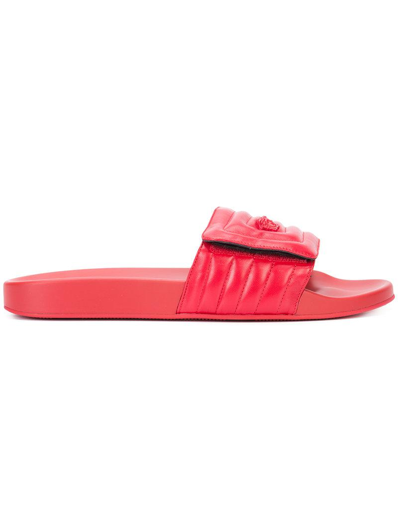 a2b7397a4d6fc Versace Medusa Head Quilted Pool Slides in Red for Men - Lyst