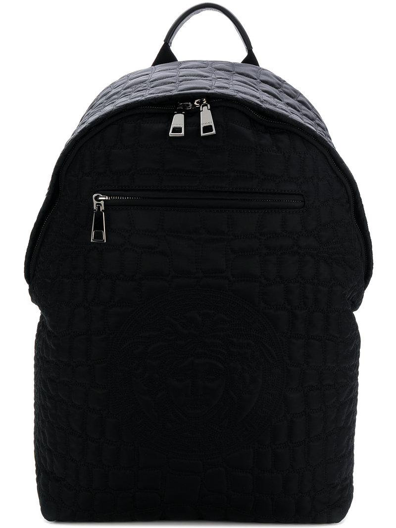 56b26aca17 Versace Quilted Medusa Backpack in Black for Men - Lyst