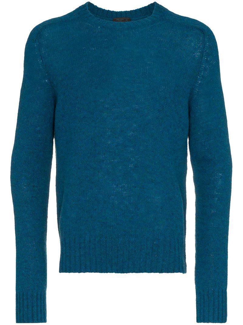532f83ccbab7 Lyst - Pull Shetland Prada pour homme en coloris Bleu
