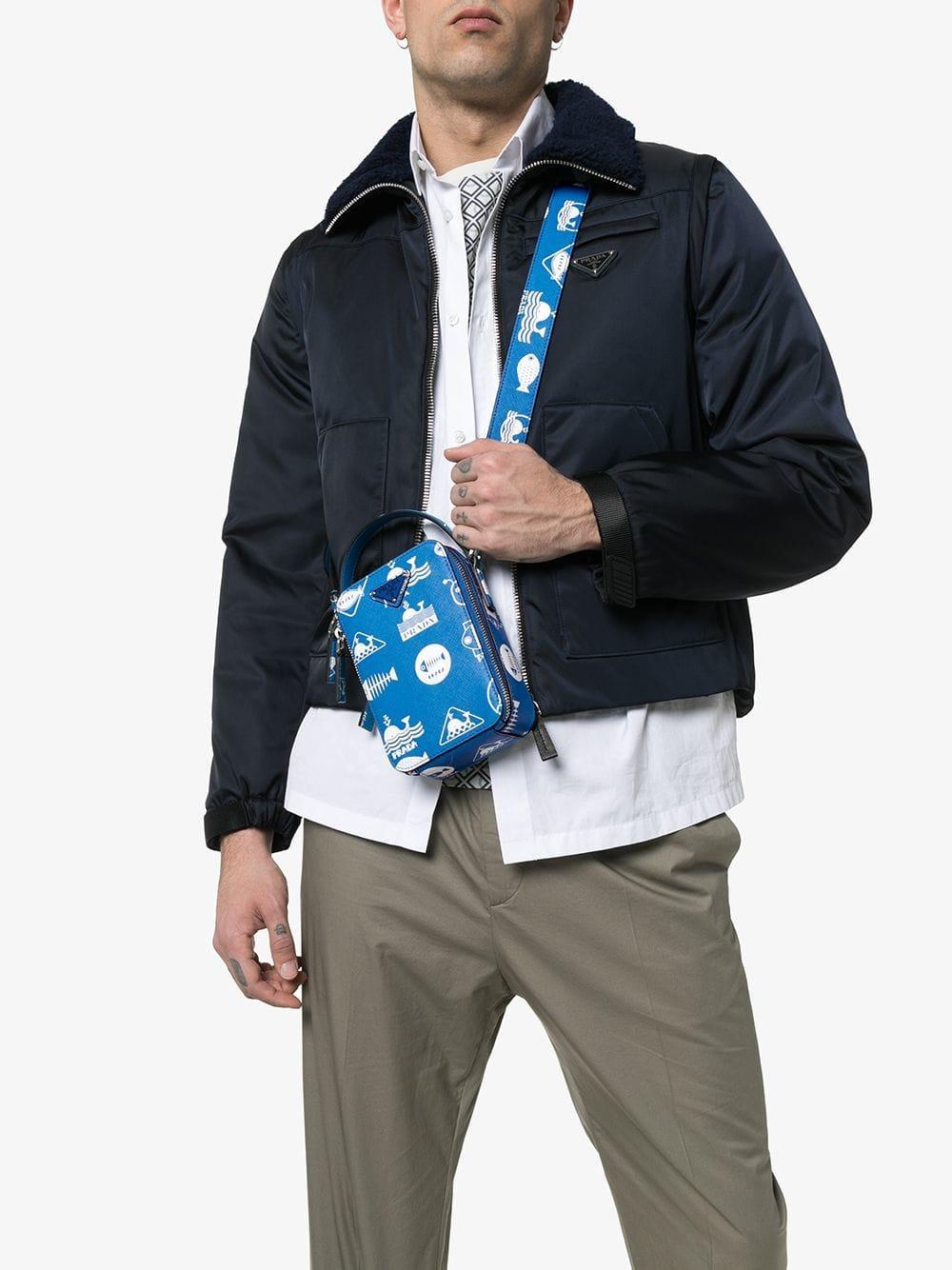 Lyst - Prada Blue Fish Print Leather Cross Body Bag in Blue for Men b05accf01e22c