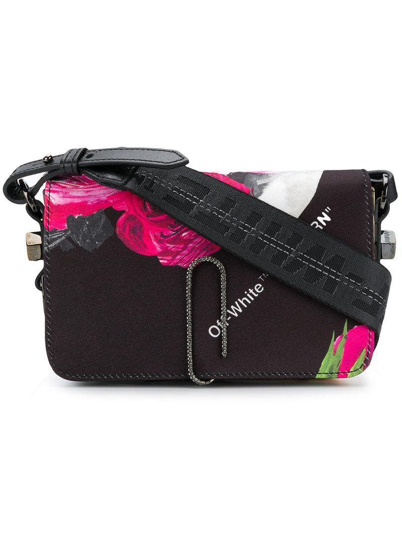 Off-white floral-print shoulder bag - Black fFyssKGztL