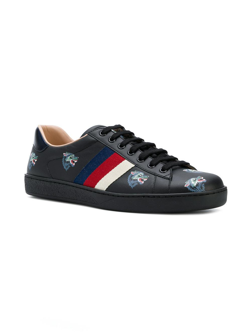 0e37153e440af Gucci Ace With Wolves Print Sneakers in Black for Men - Lyst