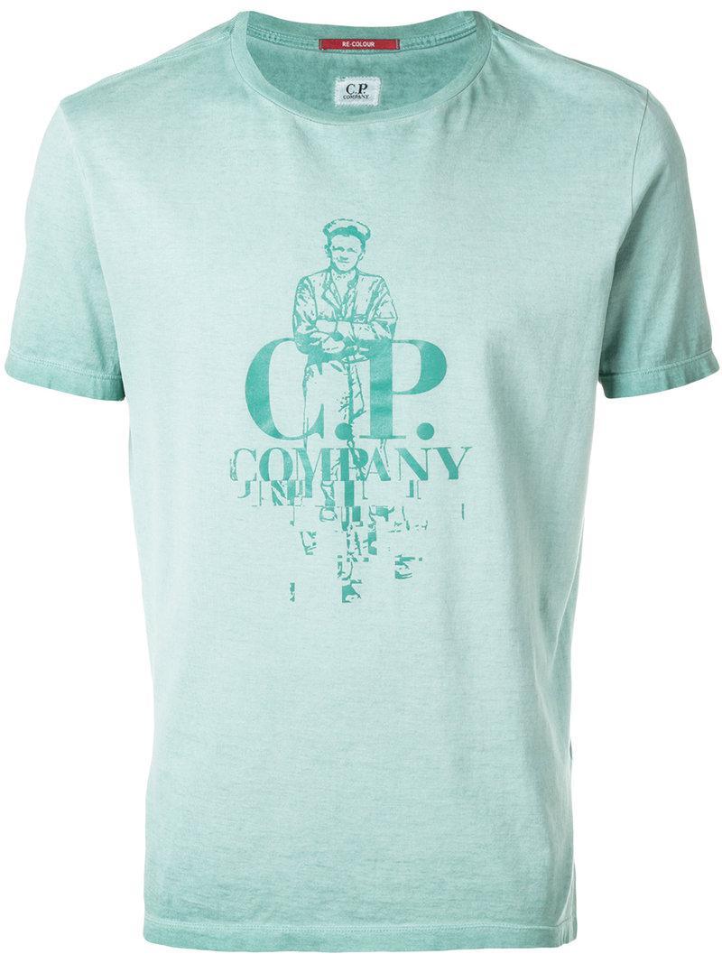 Lyst C P Company Logo Print T Shirt In Green For Men