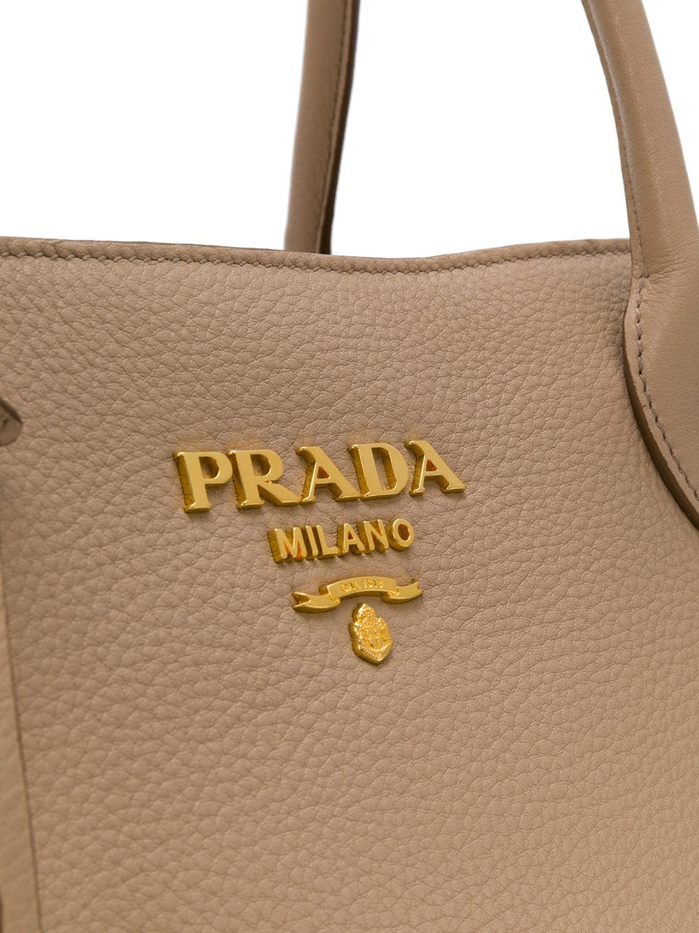 ef12ee8491bc ... discount code for prada cameo tote in natural lyst 22694 fb583