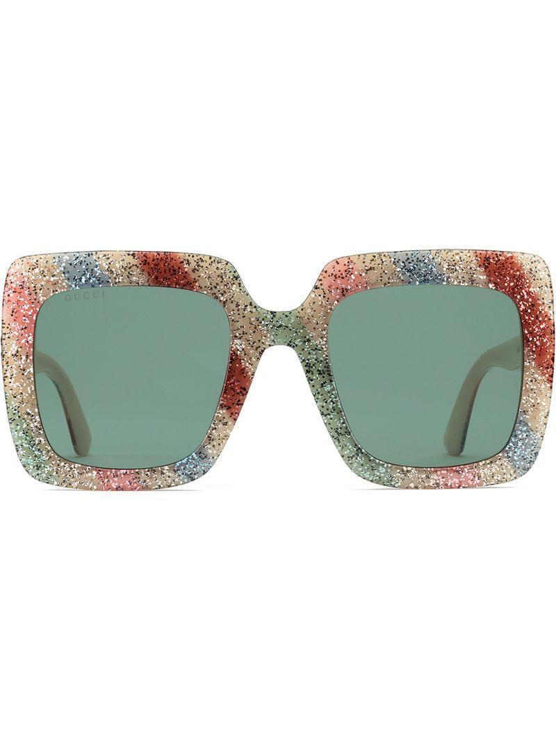 c3cf2e2ddb2 Gucci Square-frame Glitter Acetate Sunglasses in White - Lyst