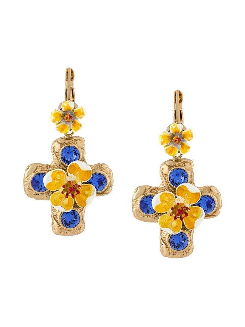 fec16c7b0 Dolce & Gabbana Floral Drop Earrings in Metallic - Save ...