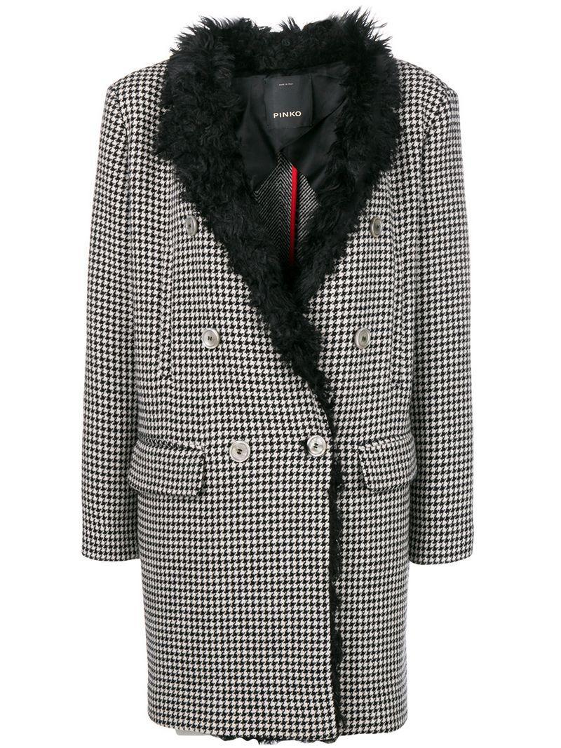 8ca516cb8d Pinko - Black Double Breasted Coat - Lyst. View fullscreen