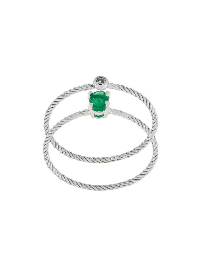 Wouters & Hendrix Emerald & Diamond set of two rings - Metallic kHXfp8Uhqe