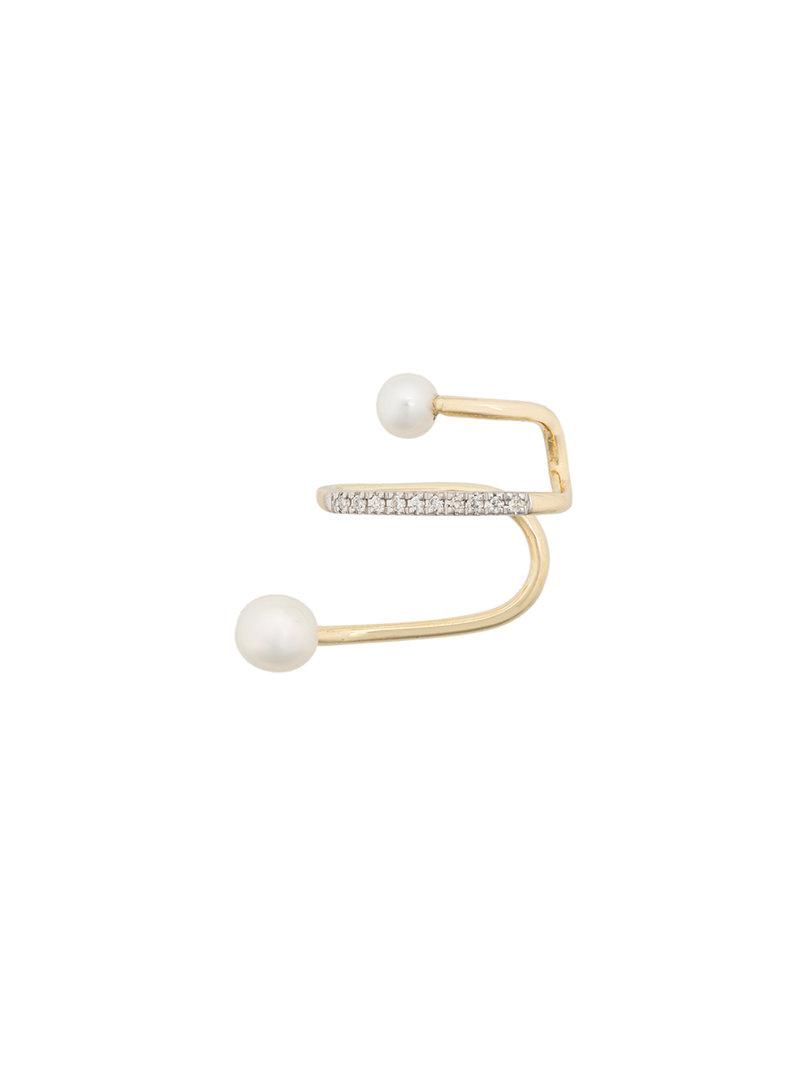 Maria Black 14kt yellow gold Skyrush diamond and pearl earcuff Cheap Sale 100% Original PNllI7GBQ
