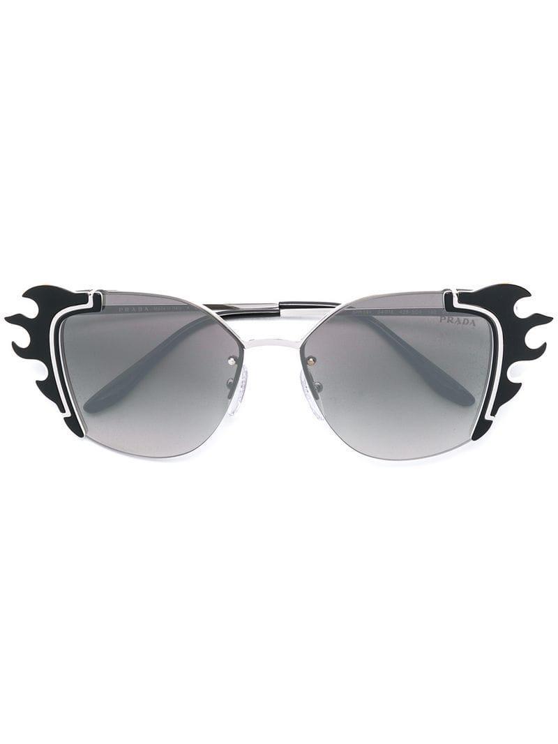 09a828f3994 Prada - Black Fire Flames Cat Eye Sunglasses - Lyst. View fullscreen