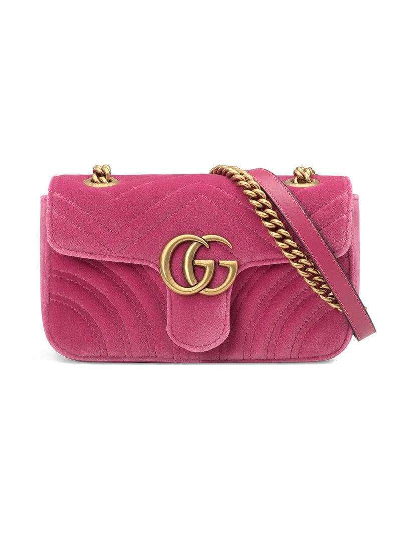 c409631857e5 Gucci GG Marmont Velvet Mini Bag in Pink - Lyst