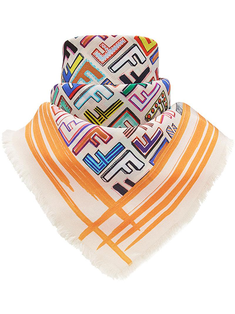 Fendi geometric logo square scarf Cost Outlet Best Clearance Classic Best Free Shipping Classic CnL1bNiTZ