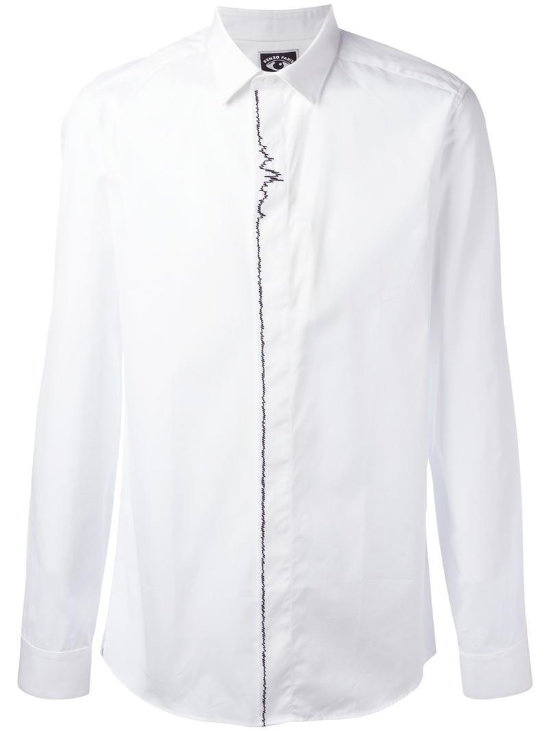 5bb0eaf32 Lyst - KENZO Sound Wave Embroidered Shirt in White for Men
