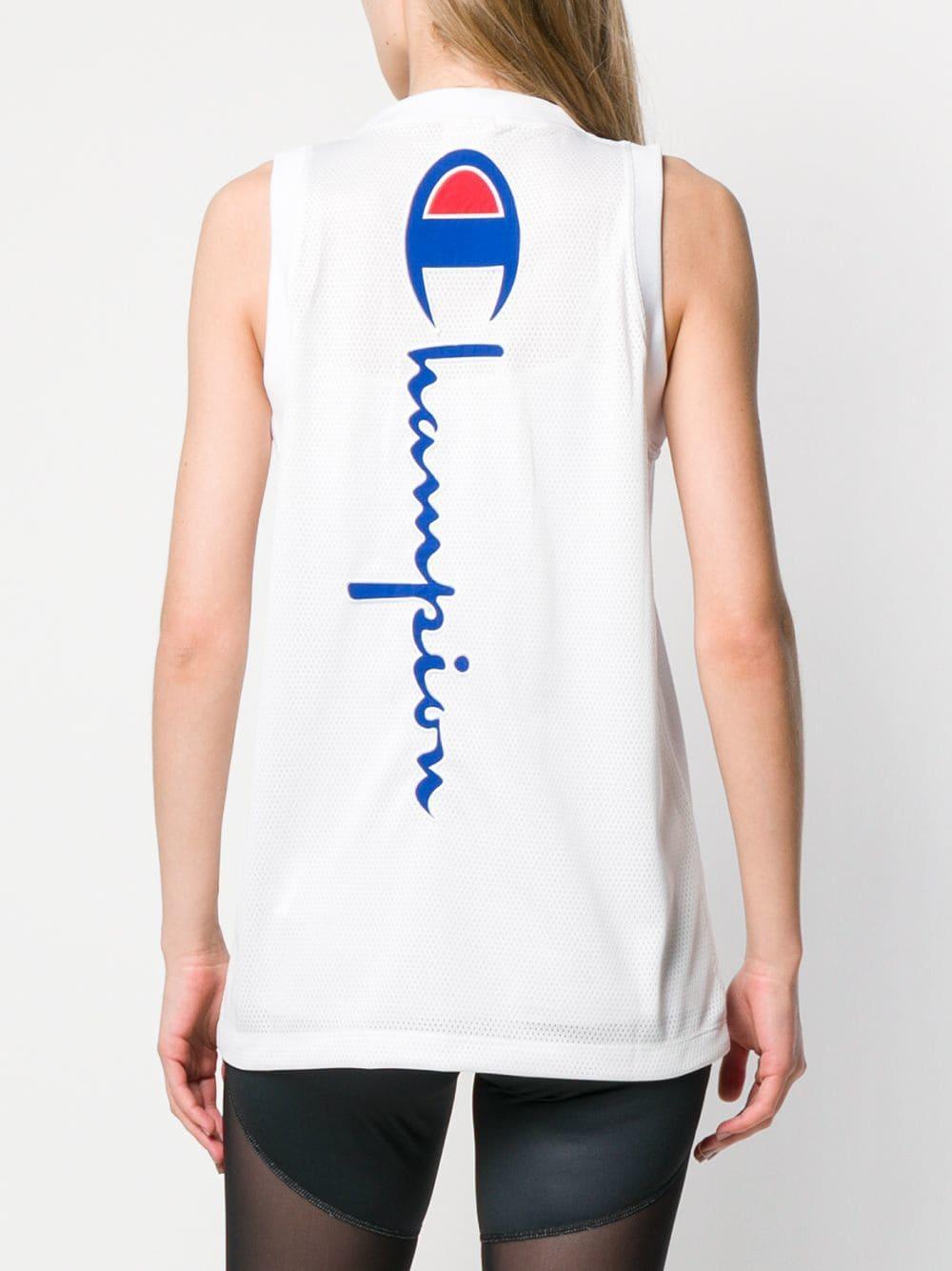 e3d9c22e46a2 Champion - White Embroidered Logo Vest Top - Lyst. View fullscreen